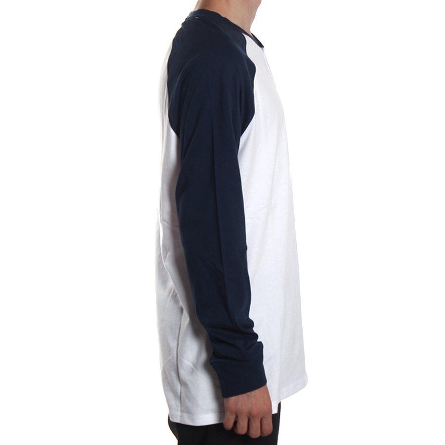 0eadcb1a4 Camiseta Vans Manga Longa Raglan Denton Branco Azul Marinho - Rock City