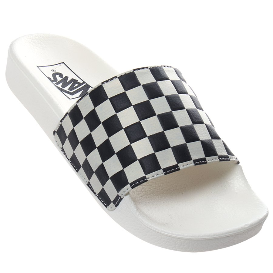 523ac4b33db39 Chinelo Vans Slide-on Checkerboard Branco Preto - Rock City
