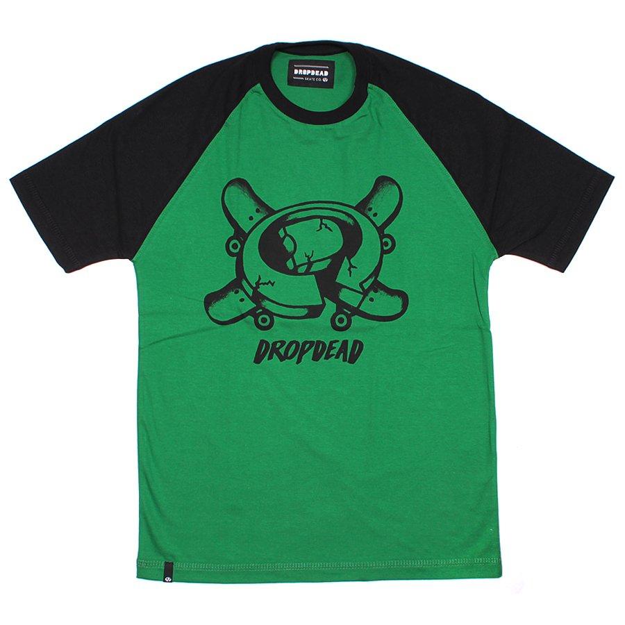 3deef1f8e9f8d Camiseta Drop Dead Raglan Infantil Sketchy Verde/Preto - Rock City
