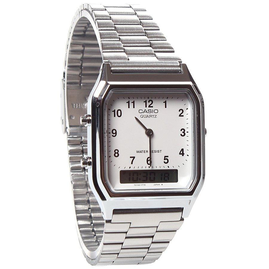 e6ef77b6e37 Relógio Casio Vintage Anadigi AQ-230A-7BMG Prata Branco - Rock City