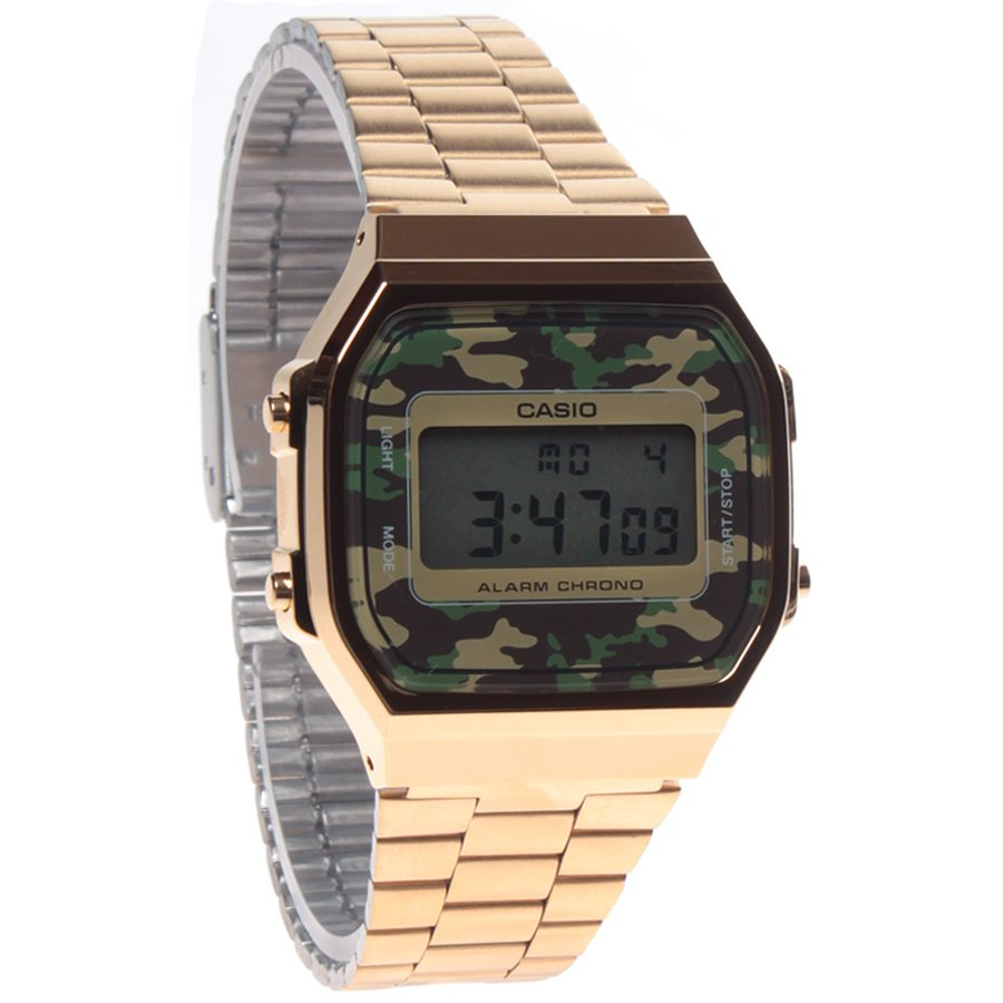 5623b6844bd Relógio Casio Vintage A168WEGC-3DF Dourado Camuflado - Rock City