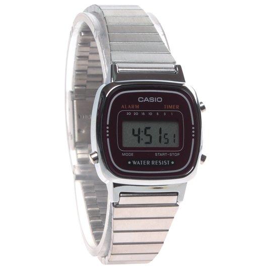 Relógio Casio Vintage LA670WA-4DF Prata Vinho