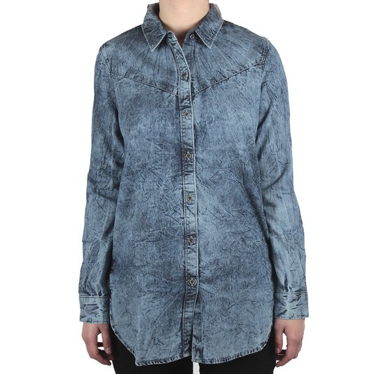 Camisa Vans M/L Banquet Wooven Azul Jeans