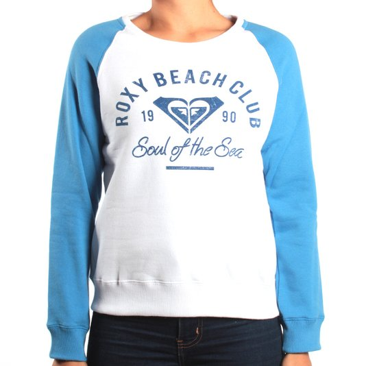 Moletom Roxy Careca Beach Club Branco/Azul