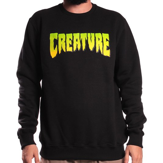 Moletom Creature Logo Crew Preto