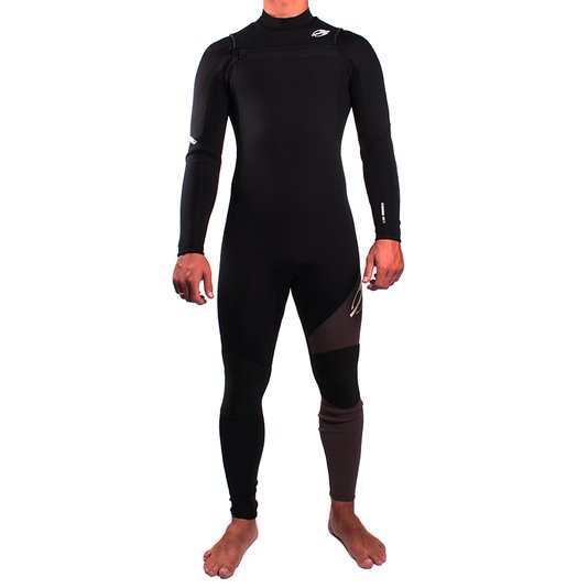 Long Jhon Mormaii Ml  3,2 Chest Zip Thunder Preto/Chumbo