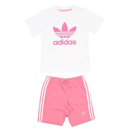 Conjunto Adidas Adicolor I Branco/Rosa