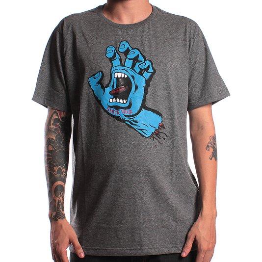 Camiseta Santa Cruz Screaming Hand Chumbo Mescla