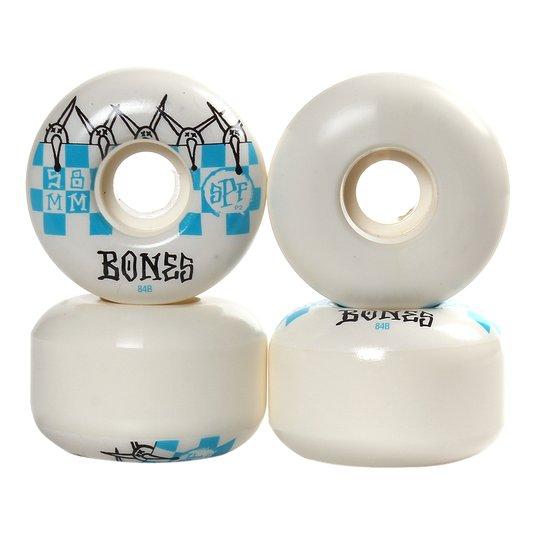 Roda Bones Skatepark Formula 84b 104a Branco/Azul