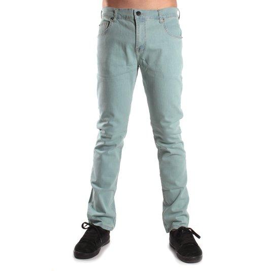 Calça Quiksilver Jeans Compressor Delavê Azul Claro