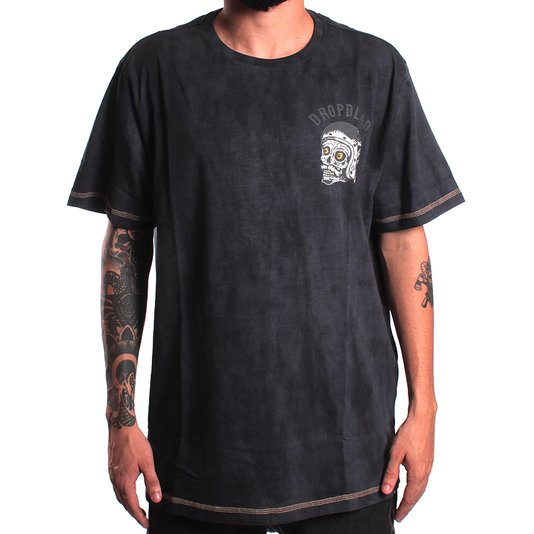 Camiseta Drop Dead Esp. Skull Stoned Chumbo