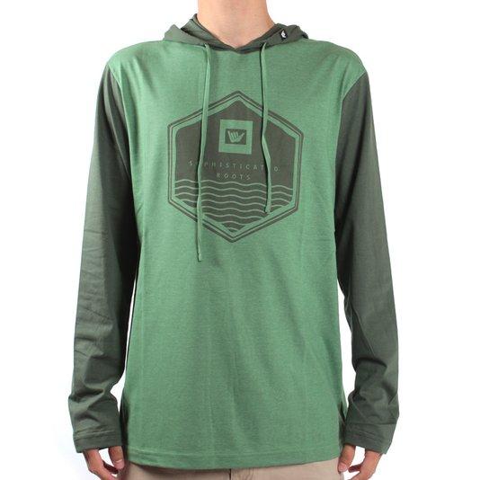 Camiseta Hang Loose Manga Longa C/ Capuz Sea Verde