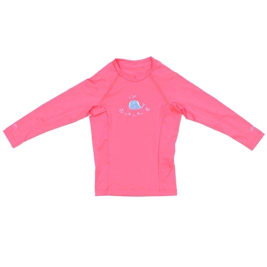 Lycra Mormaii Manga Longa Infantil Baleia Rosa Fluorescente
