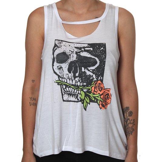 Blusa Hurley Skull Rose Branco