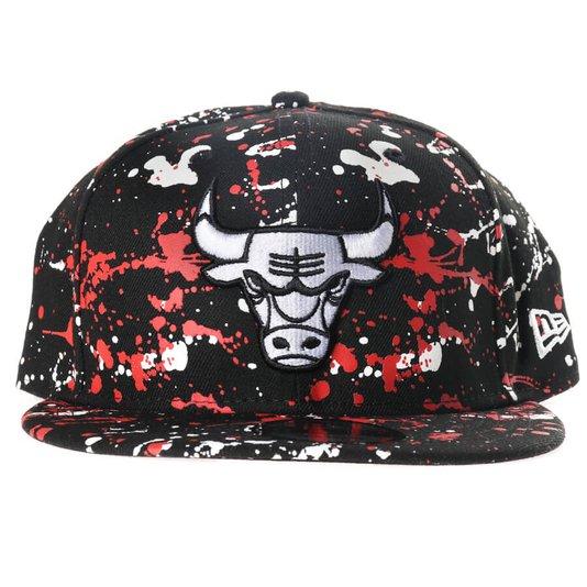 Boné New Era Chicago Bulls NBA Preto/Vermelho/Branco