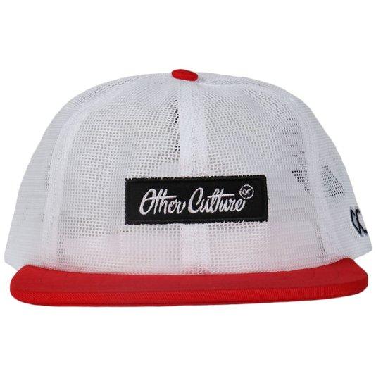 Boné Other Culture Aba Reta Patch Grid Branco/Vermelho