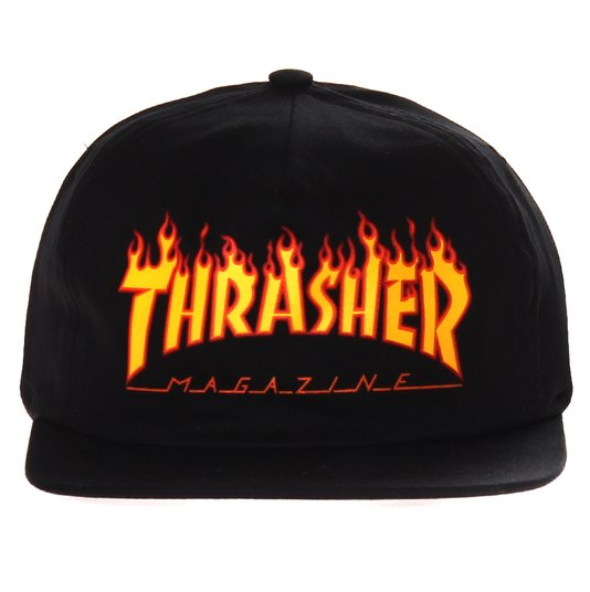 Boné Thrasher Magazine SnapBack Logo Flame Preto/Laranja