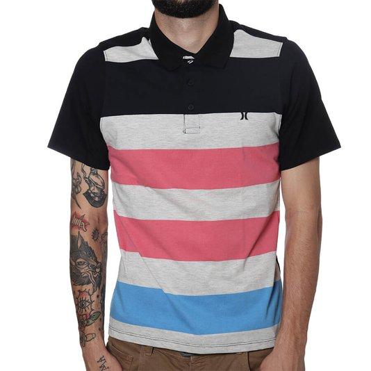 Camisa Gola Polo Hurley Atorm Preto/Rosa/Azul