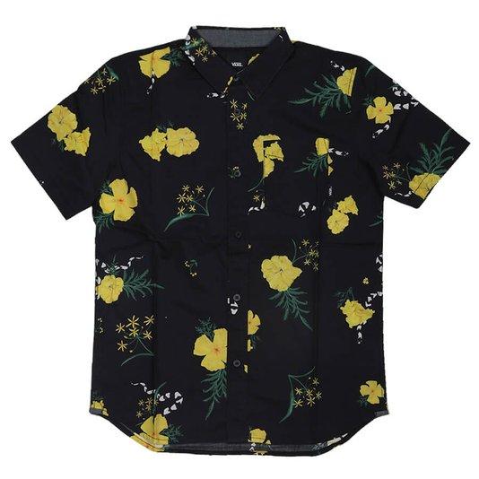 Camisa Vans Supoer Bloom Flowers Juvenil Preto/Amarelo