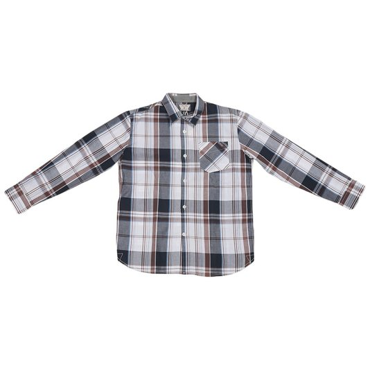 Camisa Volcom M/L Factor Plaid Juvenil Marrom/Xadrez