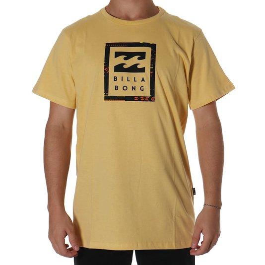 Camiseta Billabong United Stacked Amarelo