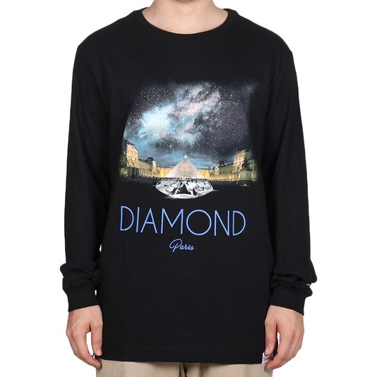 Camiseta Diamond Louvre Pyramid M/L Preto