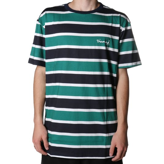 Camiseta Diamond Mini Og Script Striped Azul Marinho/Verde