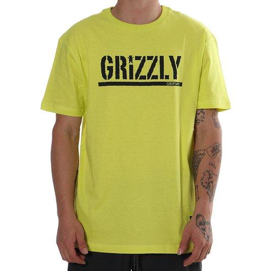 Camiseta Grizzly Stamp Tee Verde Limão/Preto