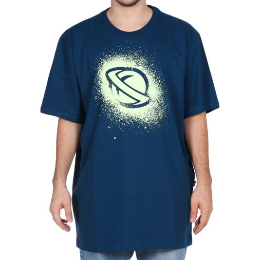 Camiseta Lost Stencil Oversized Azul Marinho