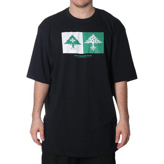 Camiseta Lrg Double Preto/Branco/Verde