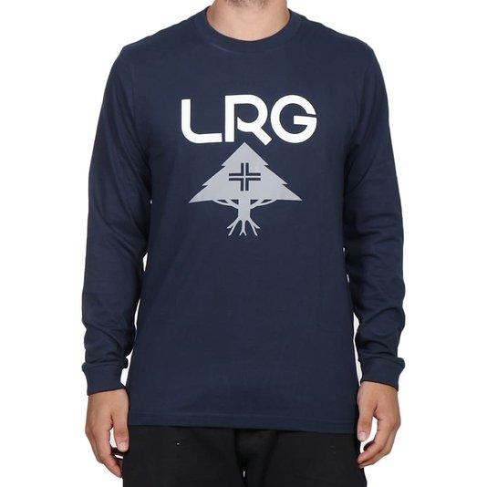 Camiseta Lrg Logo Stack Manga Longa Azul Marinho