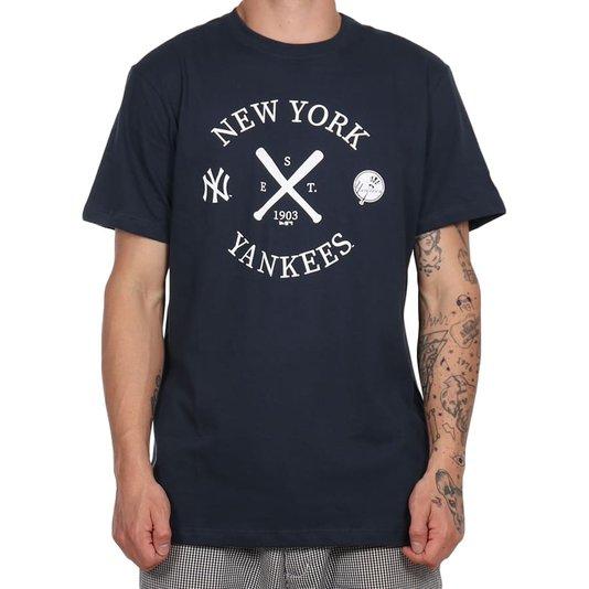 Camiseta New Era College Bat Yankees Azul Marinho