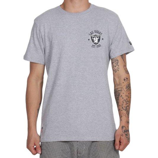 Camiseta New Era College Logo City Lasrai Cinza Mescla