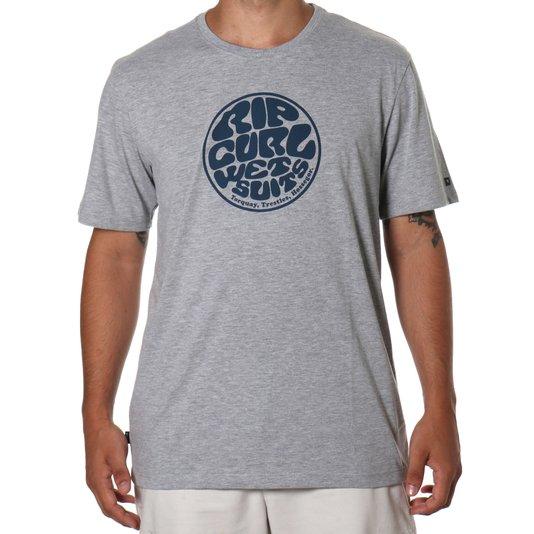 Camiseta Rip Curl Wettie Logo Cinza Mescla