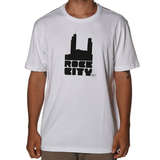 Camiseta Rock City Basci Logo Nac. Branco/Preto