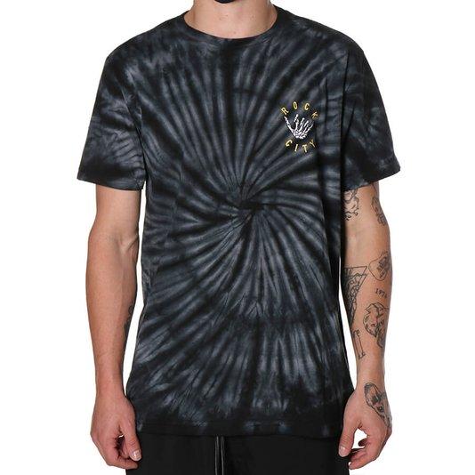Camiseta Rock City Hangloose Tie Dye Preto/Branco