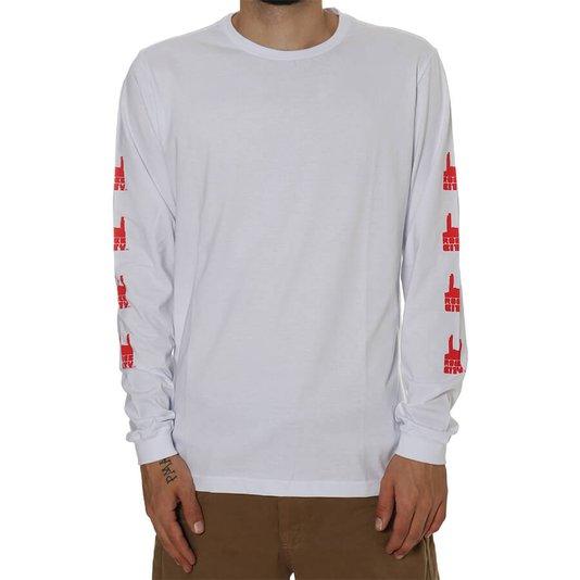Camiseta Rock City Logo Manga Longa Branco/Vermelho