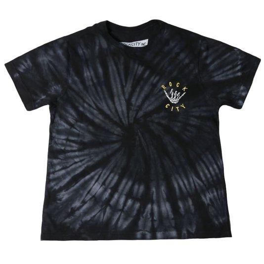 Camiseta Rock City Tie Dye Summer Times Infanto - Juvenil Preto/Branco