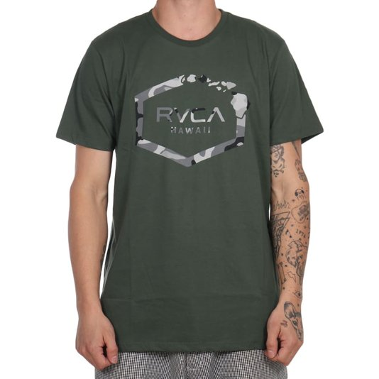 Camiseta Rvca Island Hex Verde Militar