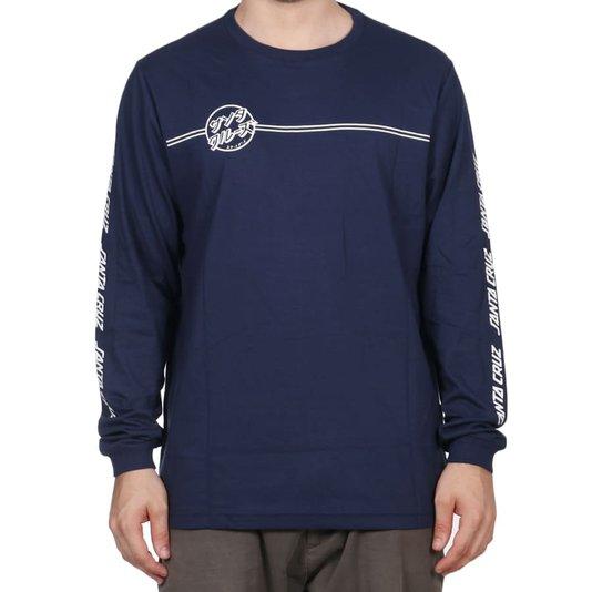 Camiseta Santa Cruz Bogus Hand M/L Azul Marinho