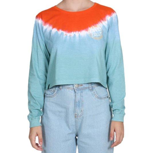 Camiseta Santa Cruz Cropped One Stroke Ml Feminina Laranja/Branco/Azul