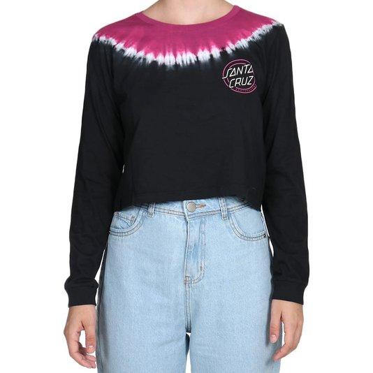 Camiseta Santa Cruz Cropped One Stroke Ml Feminina Rosa/Branco/Preto