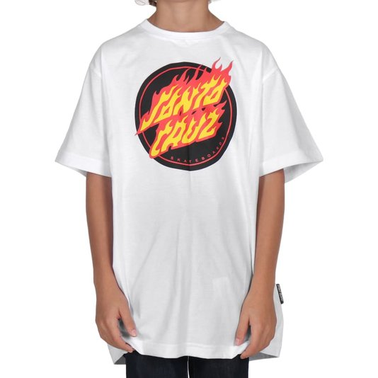 Camiseta Santa Cruz Flaming Dot Juvenil Branco