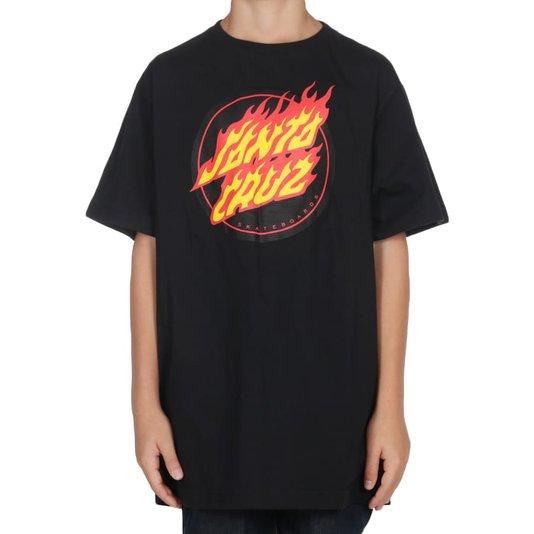 Camiseta Santa Cruz Flaming Dot Juvenil Preto