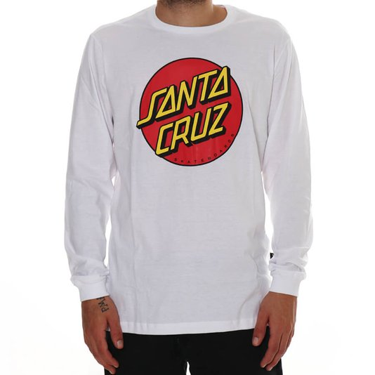 Camiseta Santa Cruz Manga Longa Classic Dot Logo Branco