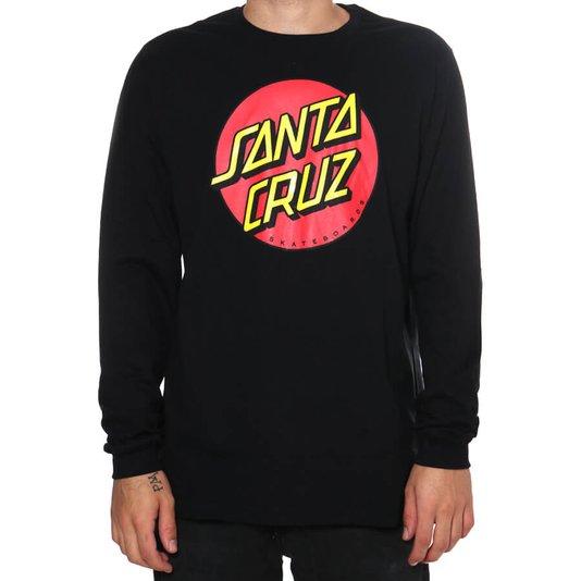 Camiseta Santa Cruz Manga Longa Classic Dot Logo Preto