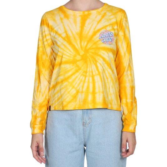 Camiseta Santa Cruz Ml Funky Dot Tie Dye Feminina Amarelo