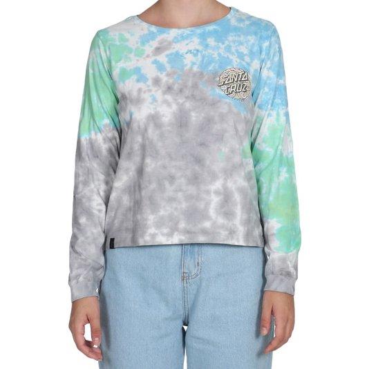 Camiseta Santa Cruz Ml Funky Dot Tie Dye Feminina Cinza/Azul/Verde