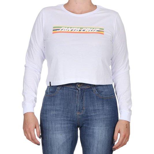 Camiseta Santa Cruz Stripe Cropped M/L Feminina Branco