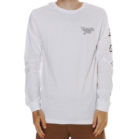 Camiseta Thank You Manga Longa Cloudy Branco